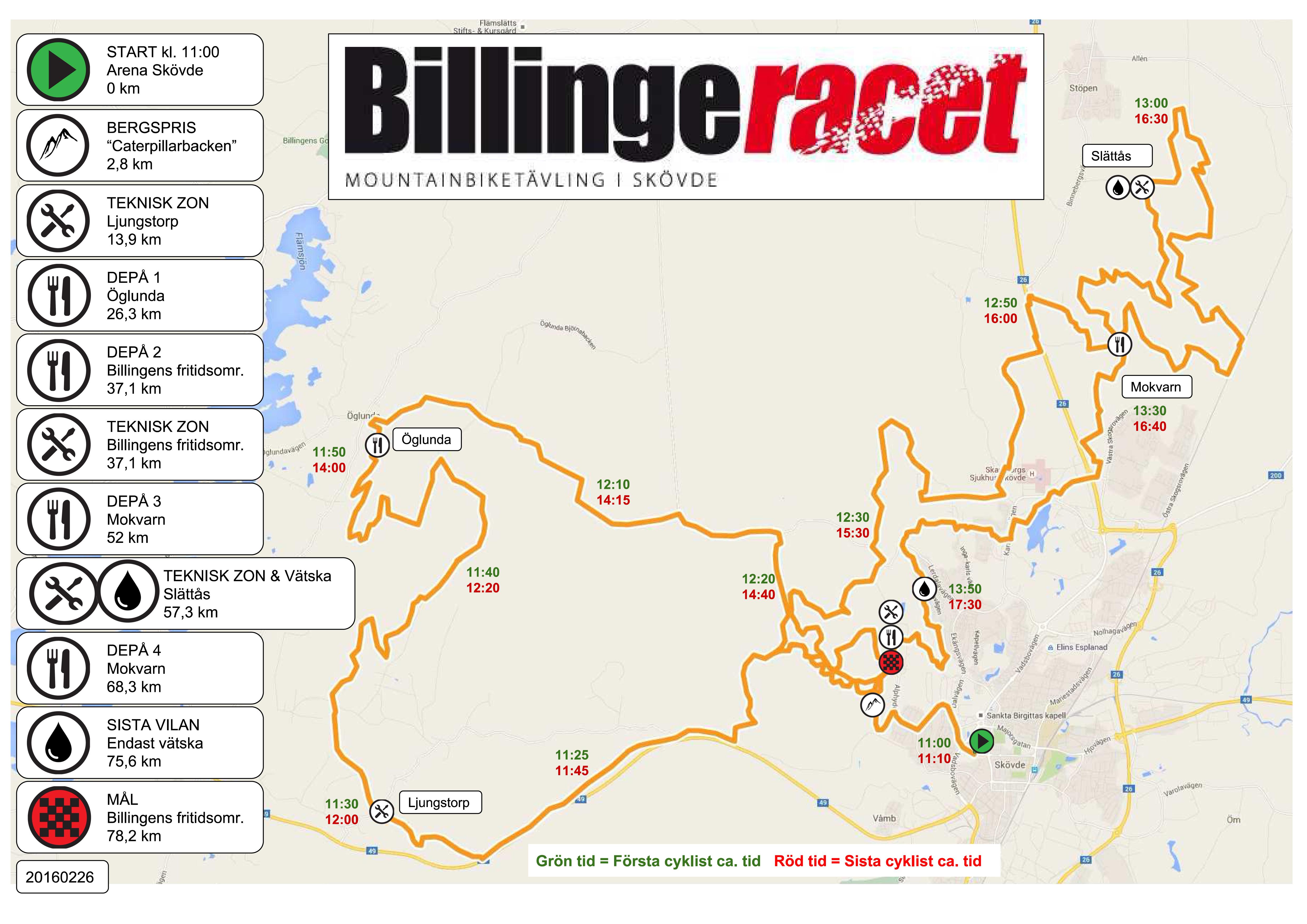 Karta Billingeracet 2017